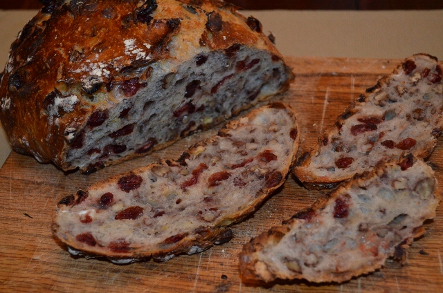 Cranberry – Pecan No-Knead Bread | Nature and Life Notes